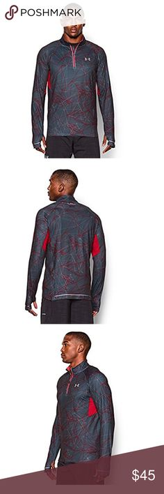 Under Armour Men's UA Launch Run Printed zipper Ultra-soft, brushed fabric provides lightweight warmth. 4-way stretch fabrication allows greater mobility in any direction. Moisture Transport System wicks sweat & dries fast. Anti-odor technology prevents the growth of odor causing microbes. Reflective logos & graphics deliver greater visibility on low-light runs. 7.0 oz. Polyester/Elastane. Imported. Under Armour Shirts Sweatshirts & Hoodies