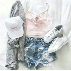 Pink Top and Denim Shorts with Gray Cardigan and White Sneakers