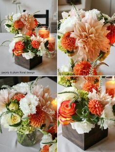 Succulent Dahlia Centerpiece – I do like the one in the little wooden box Stacy – but with Dahlia's that go with our color scheme?