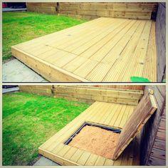 Deck with built-in, hidden sand pit Corner Deck, Under Decks, Hidden Garden, Sand Pit, Backyard For Kids, Outdoor Living Areas, Garden Toys, Amazing Gardens, Decking
