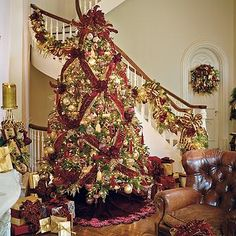 frontgate burgundy gold Christmas tree. Love the basket weave ribbon pattern.