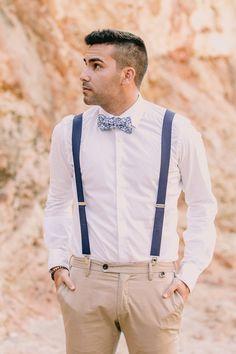 Mallorca Beach Boho Wedding Inspiration - groom in suspenders