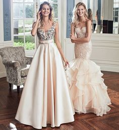 Alyce Paris Full skirts, embellished lace, and ruffles galore  {Styles: 6834 & 6747} | Alyce Paris Prom 2017 Champagne Mikado ball gown with an embellished illusion v neck. Ruched waist and low v back, and Champagne Mermaid style gown with a ruffled skirt, lace bodice, sweetheart neckline and small back keyhole. | Pageant Dress Formal Dress Bridal Dress Wedding Dress Mermaid Dress Castle Dress Ball Gown Prom 2017 Prom