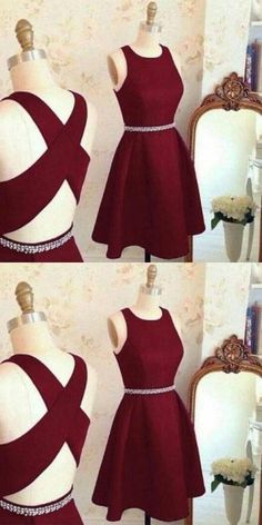 Lovely Cute Prom Dress, Short Prom Dress, Burgundy Homecoming Dress, Prom Party Dress 0171 by RosyProm, $121.99 USD
