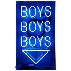 Boys, Boys, Boys Neon Sign | From a unique collection of antique and modern wall lights and sconces at https://www.1stdibs.com/furniture/lighting/sconces-wall-lights/