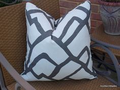 The fabric is Schumacher Zimba Charcoal (55% Linen/45% Cotton - 36 repeat). The price is for ONE (select your size in Dimensions) pillow cover,