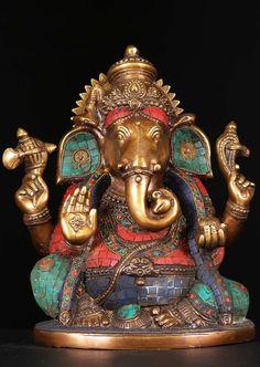 """Brass Abhaya Mudra Ganesh With Stones 13"""""""