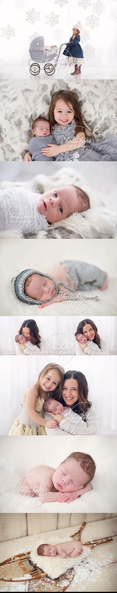 A Winter Wonderland newborn portrait photography session for baby J and his big sister.