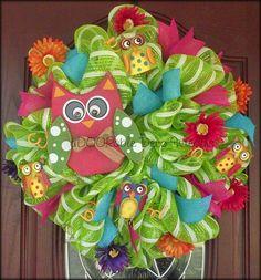 Owl Wreath by aDOORableDecoWreaths on Etsy