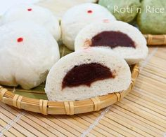 Soft, white Tau Sar Bao with red bean paste filling makes a delicious breakfast or snack. Add some powdered green tea to make Matcha Anpan. #chinesefood #dimsum #steamedbuns