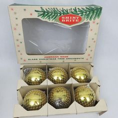 6 Large Gold Shiny Brite Mesh and Glass Christmas Ornaments in