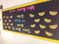 Taco'bout a great 1st grade class- Welcome bulletin board!