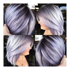 Silver lavender hair color and smooth bob with shadow base by Brittnie Garcia WTF to do with my hair? Silver Lavender Hair, Lavender Hair Colors, Silver Purple Hair, Lavender Ideas, Sliver Hair Color, Grey Hair With Purple Highlights, Lavender Hair Highlights, Short Silver Hair, Hair Colours