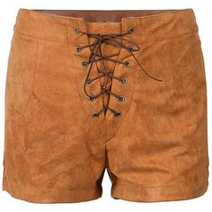 Woodland Muse Lace Up Front Shorts-BROWN-S