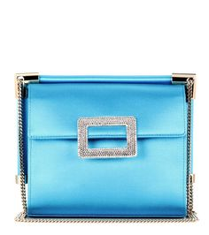 Roger Viviers - Miss Viv' Mini shoulder bag - The compact style, crafted from decadent blue satin, boasts structure and refined design. - @ www.mytheresa.com