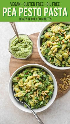 This 7-Ingredient Pea Pesto Pasta recipe is Vegan, Gluten-Free, Oil-Free, and Healthy! Made with Fresh Basil and Toasted Pine Nuts, this meal is great for a tasty Dinner or Meal Prep. #vegan #plantbased #easydinner #30minutemeal #mealprep #pesto #pestopastarecipe #glutenfree #healthydinner #healthyveganrecipes via frommybowl.com