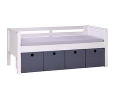 Sofá-cama Authentic com caixas organizadoras cinza.  #crofths #sofacama #camacomgavetas #caixasorganizadoras #camafuncional #sofacamacomgavetas