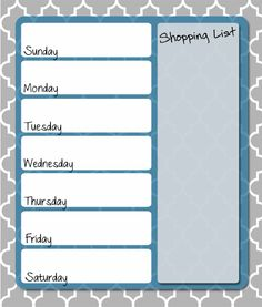 Free printable weekly meal planner from Thriving Home. Frame it and use dry erase markers to update each week.
