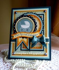 Hand stamped Baby Announcement card  Our Special by llenusik, $6.99