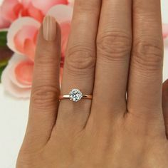 1 ct Promise Ring, 4 Prong Solitaire Ring, Man Made Diamond Simulant, Wedding Ring, Engagement Ring, Sterling Silver, Rose Gold Plated