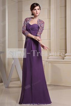 Purple Floor-Length A-Line Petite Fall 3/4-Length Floor-length Wedding Party DressWholesale Price: US$139.99