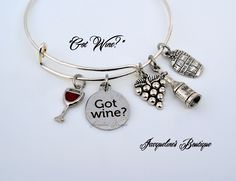 """Novinophobia""......The fear of running out of wine! Cute ""Got Wine?"" Bracelet by Jacqueline's Boutique."