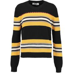 MSGM Embroidered striped cotton sweater ($185) ❤ liked on Polyvore featuring tops, sweaters, black, cotton sweaters, striped sweater, embroidery top, stripe sweaters and loose fitting tops