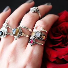 Jewels in these rings are so lovely