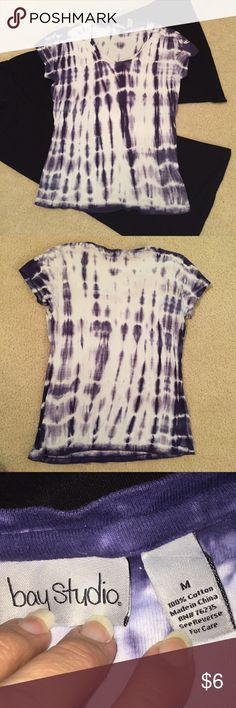 Bay Studio Purple TyeDye Short Sleeve Tee Scoop neck purple and white  tye-dye print T-shirt. Black stretch gauchos sold separately. Bay Studio Tops Tees - Short Sleeve