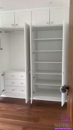 Bedroom Built In Wardrobe, Wardrobe Room, Bedroom Closet Design, Bedroom Furniture Design, Home Room Design, Home Interior Design, Diy Furniture, Wardrobe With Drawers, Wardrobes For Small Bedrooms