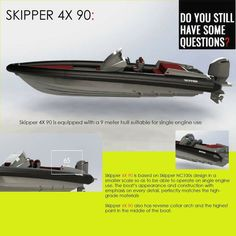 SKIPPER 4X 90:  Skipper 4X 90 is based on Skipper NC100s design in a smaller scale so as to be able to operate on single engine use. The boat's appearance and construction with emphasis on every detail, perfectly matches the high-grade materials  Skipper 4X 90 also has reverse collar arch and the highest point in the middle of the boat.  This radical design now serves as a trademark across the entire Skipper line adopting a uniform style.  contact: info@hst.gr https://www.charismerkatis.com/