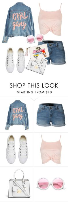 """denim over denim "" by sar-rab ❤ liked on Polyvore featuring High Heels Suicide, LE3NO, Converse, Topshop, Michael Kors, ZeroUV and Moschino"