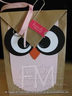 Stamp & Scrap with Frenchie: Lunch Bag = Owl Gift Bag Video