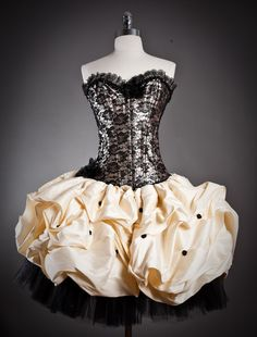 Size small black and gold lace burlesque corset prom dress with tulle and dupioni shantung skirting with pickups