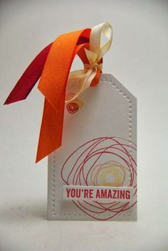 You're Amazing using PTI stamps and May Arts ribbons