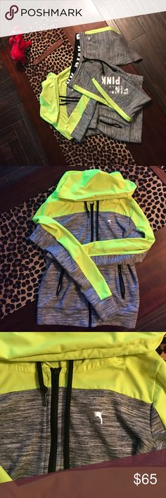 PINK Victoria's Secret Track Suit Like new only worn twice. Both size small in great condition. Neon yellow. The sweater has zippered pockets and the pants are skinny Fit. Absolutely perfect condition 🤗 PINK Other