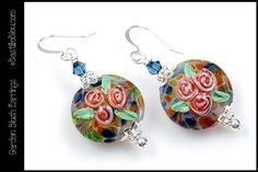 $30 Garden Blush Earrings - BBL Handmade Lampwork Glass Beads SRA