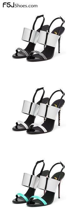 Women's Style Sandal Shoes Winter Fashion Chic Silver Mirror Stiletto Heels Slingback Open Toe Sandals Winter Fashion Prom Shoes Elegant Wedding Dresses Shoes Unique Wedding Dress Heels New Year's Eve Party Shoes| FSJ