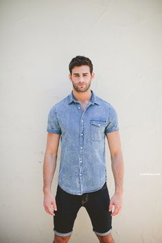 look: denim shitr over denim shorts | I love to match two tones of denim. #streetstyle #menswear