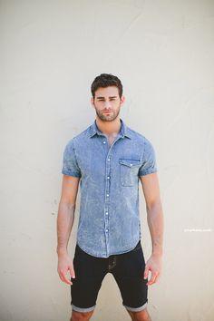 look: denim shitr over denim shorts | I love to match two tones of denim. #streetstyle #menswear
