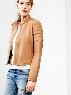 Quilted wool biker jacket