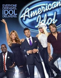 American IDOL Judges; Randy Jackson, Mariah Carey, Nicki Manij, Keith Urban & host (center) Ryan Seacrest