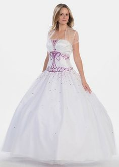 BallGown Strapless Tulle Satin Floor-length White Beading Quinceanera Dress at sweetquinceaneradress.com