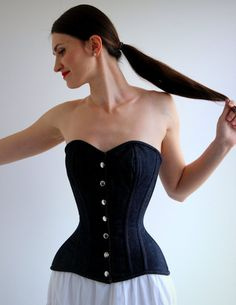 Denim overbust corset from Corsettery Western by Corsettery