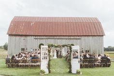 rustic wedding ceremonies - photo by Paper Antler http://ruffledblog.com/summer-sunset-wedding-in-wisconsin