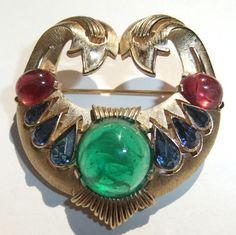 Vintage Trifari Jewels of India Emerald Ruby Sapphire Rhinestone Moghul Brooch | eBay