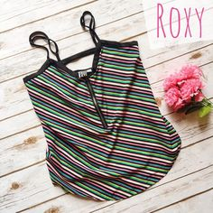 Roxy Colorful Striped Spaghetti Strap Top  ★ EUC, with minor wear on the straps.  ★ Vibrant colorful stripes, perfect for festival season! Pair with a cute pair of cutoffs and you're good to go!  ★ 100% Polyester.  ★ NO TRADES!  ★ YES OFFERS! ✅ ★ Measurements available by request.  Roxy Tops