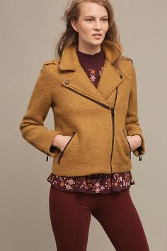 Boucle Moto Jacket from Anthropologie.  Super cute! I don't need another fall coat but this one almost has me convinced I do 😍