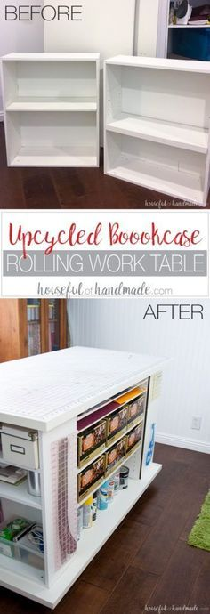 Don't throw out those old cheap bookcases from your college days, upcycle them into the perfect work station. Create this amazing upcycled bookcase rolling work table for your craft room or office.   Housefulofhandmade.com    Craft Table   Rolling Work Table   Upcycled Bookcase   Craft Room Storage   Free Build Plans
