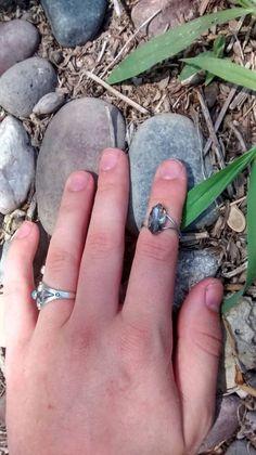 Reclaimed dark gray gemstone midi ring boho gypsy by LouLeeAndMe